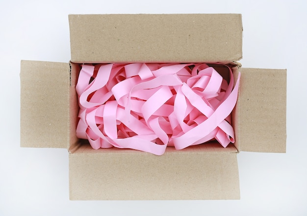 Open carton corrugated cardboard box with prevent bumping paper on white background