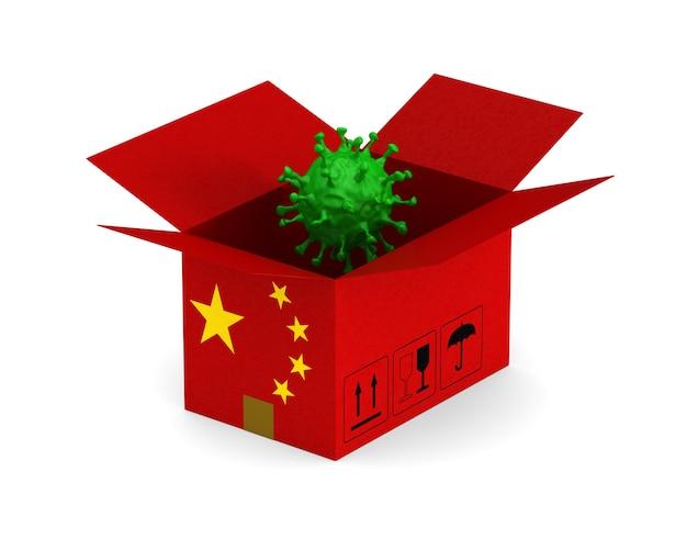 Open chinese cargo box and virus on white.