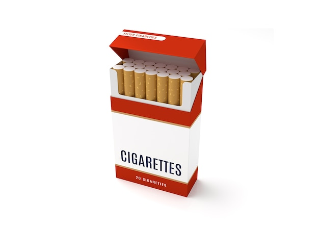 Open cigarettes pack box on white background
