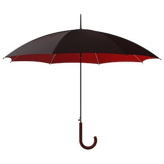 Открытый классический черно-красный зонтик-палка