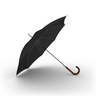 Open classic black umbrella stick