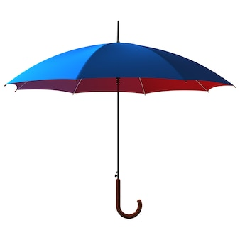 Open classic blue - red umbrella stick