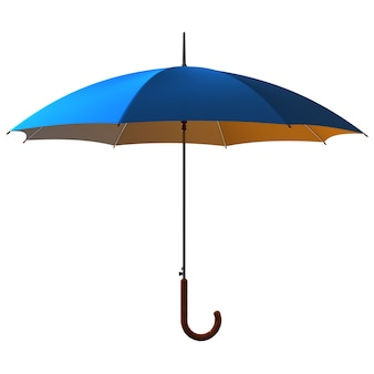 Open classic blue - yellow umbrella stick