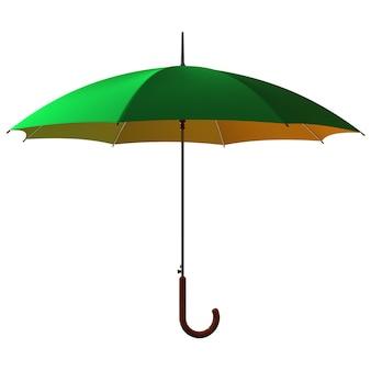Открытый классический зелено-желтый зонтик
