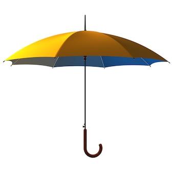 Open classic yellow - blue umbrella stick