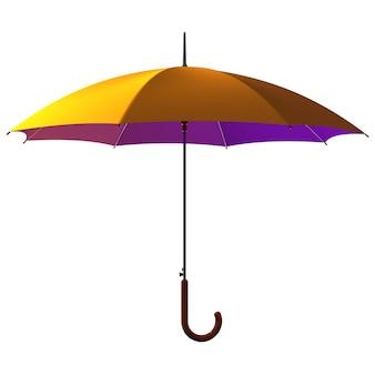 Open classic yellow - purple umbrella stick