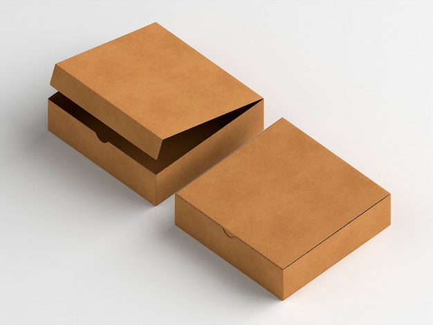 Scatole di cartone aperte e chiuse