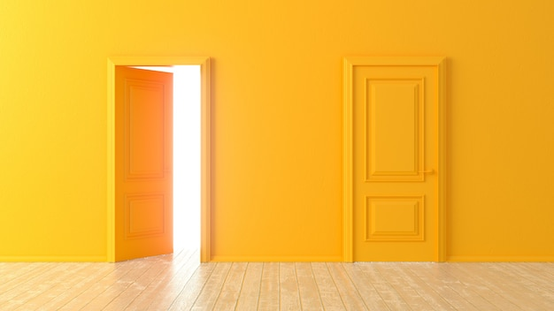 Open and closed orange doors in front of a room with a wooden floor. isolated empty room