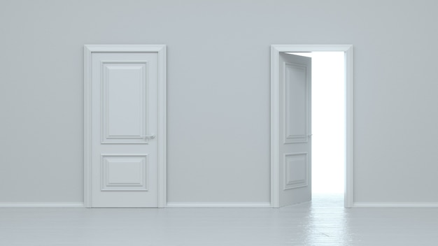 Open and closed white entrance realistic door isolated on white wall