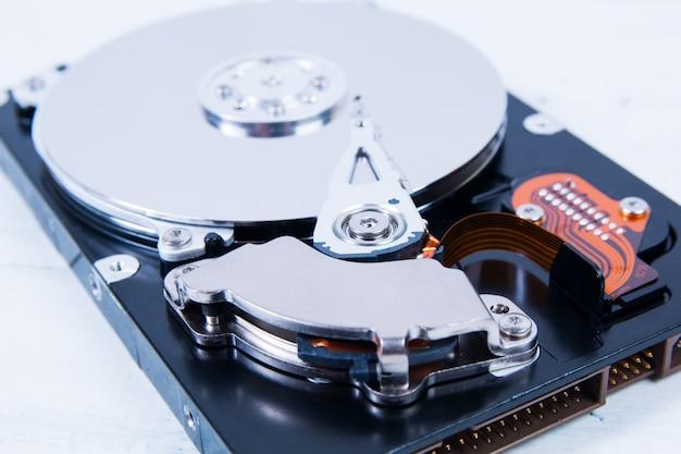 Open computer hard disk drive (hdd) closeup
