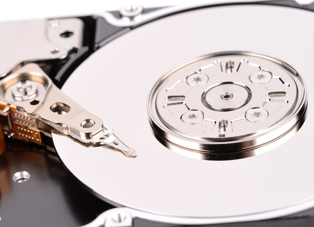 Open computer hard drive on white
