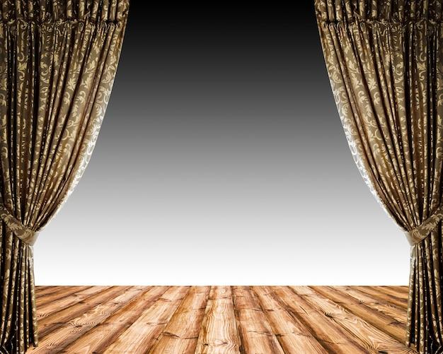 レンガと劇場の背景にカーテンを開く