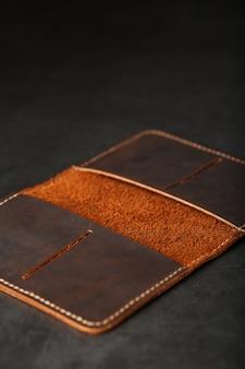 Open dark brown leather passport cover. genuine leather, handmade.