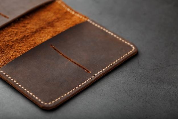 Open dark brown leather passport cover. genuine leather, handmade.
