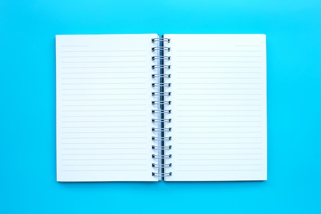 Open diary on blue background.