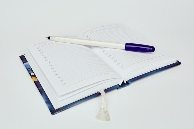 ボールペンで日記を開く