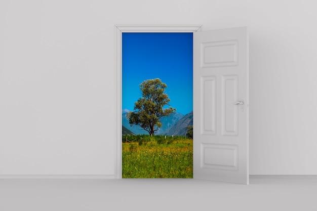 Open door in hall. 3d illustration