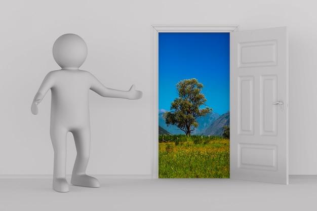 ホールのドアを開けてください。 3dイラスト