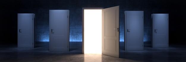 Открытая дверь возможность концепция 3d рендеринга