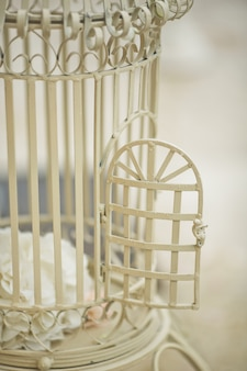 Open door of white bird cage