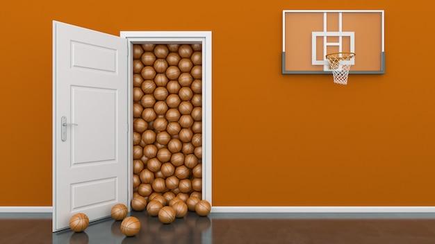 Открытая дверь с баскетбольным мячом