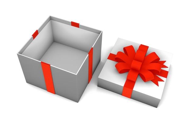 Откройте пустую коробку для подарков с красной лентой, изолированной на белом фоне. 3d визуализация. макет
