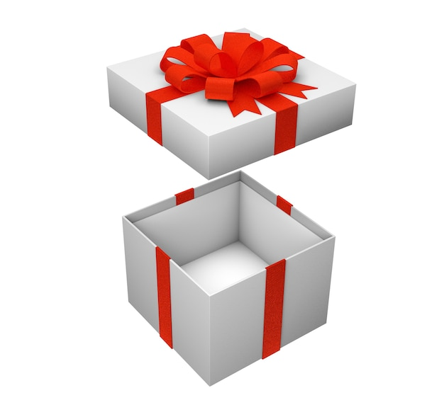 Open empty box for gifts with red ribbon isolated on white background. 3d render. mock-up