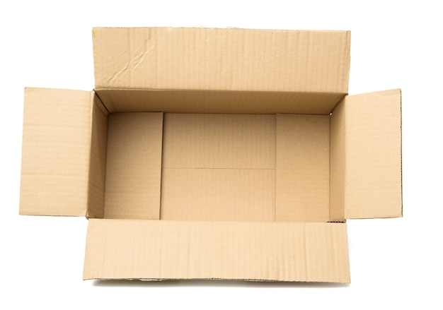 Open empty cardboard rectangular box made of corrugated brown paper isolated on a white background, top view