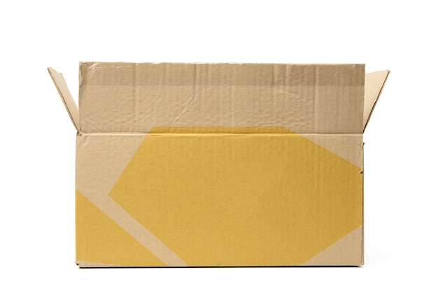 Open empty cardboard rectangular box made of corrugated brown paper isolated on a white background