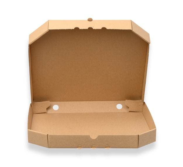 Open empty cardboard square pizza box, brown paper packaging isolated on white background, top view