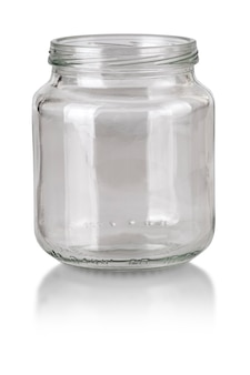 Open empty glass jar isolated on white with clipping path
