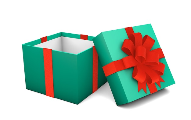 Open empty green gift box with red ribbon isolated on white background. 3d render. mock-up