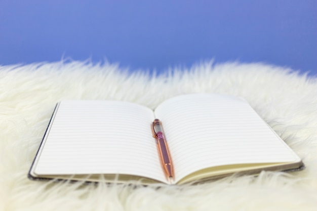 Open empty notebook with a pink pen on white fur background.