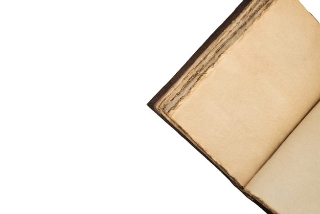 An open empty old notebook isolated on a white background. copy space.