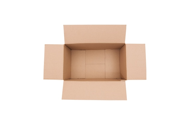 白い背景の上の空の長方形の段ボール箱を開きます。