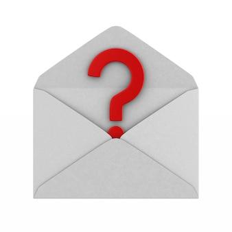 Открытый конверт и вопрос на белом.
