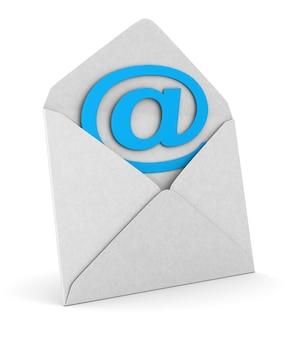 空白の封筒とシンボルの電子メールを開く