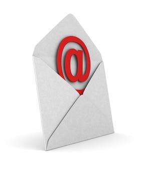 Открытый конверт и символ электронной почты на белом.