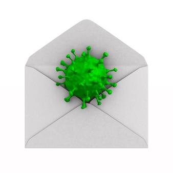 Открытый конверт с вирусом на белом.