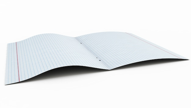 Open exercise book isolated in 3d render image