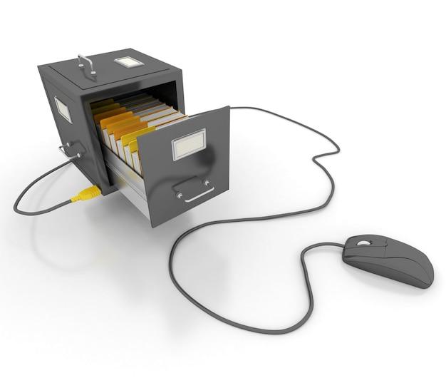 컴퓨터 마우스에 연결된 열린 파일 캐비닛 서랍
