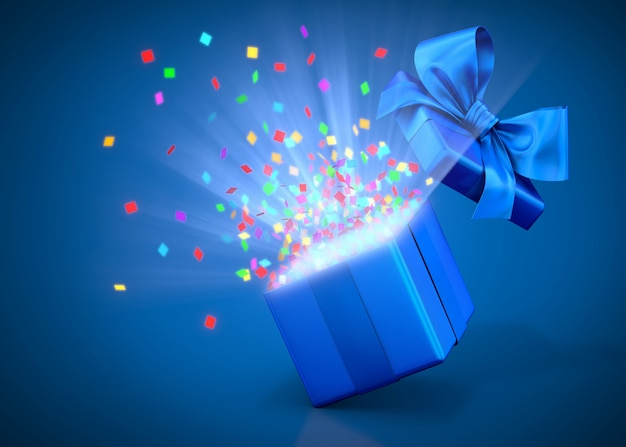 Open gift box or present with confetti