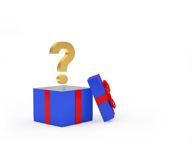 Открытая подарочная коробка с вопросительным знаком
