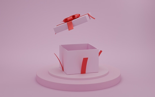 Open gift box with red ribbon on presentation podium with pink color background, valentine day concept, 3d rendering