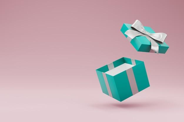 Откройте подарочную коробку с изолированными лентой и бантом. 3d рендеринг
