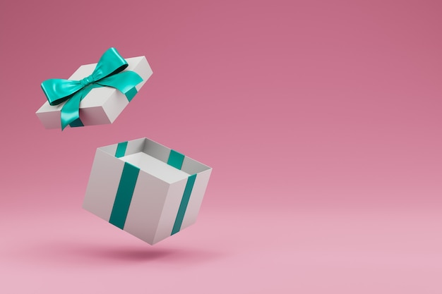 Open gift box with ribbon and bow isolated. 3d rendering