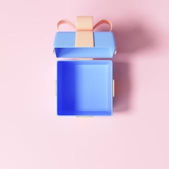 ピンクの背景に分離されたリボンでギフトボックスを開く
