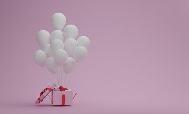 パステルピンクの背景に白い風船でギフトボックスを開きます。バレンタインまたは特別な瞬間の概念。あなたの装飾のための空のスペース。 3dレンダリング