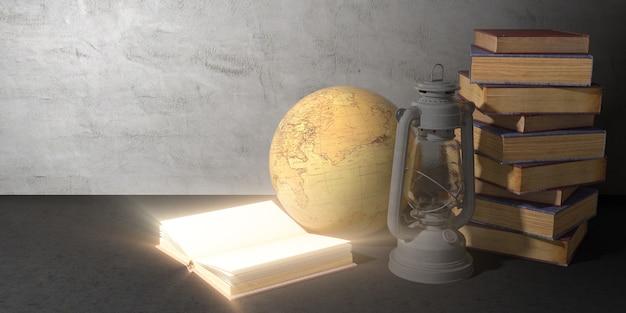 Открытая светящаяся книга рядом с глобусом, керосиновой лампой и стопкой книг на черном фоне, 3d иллюстрация