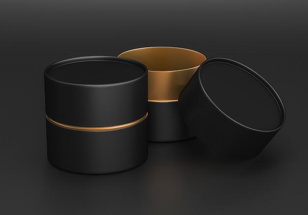 Открытая золотая и черная пластиковая или металлическая или картонная туба, консервная банка, макет, 3d визуализация